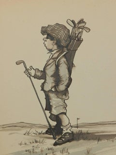 Caricature of a Young Golfer by Peter Hobbs Golf Original Painting c1950