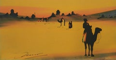 Sahara Desert Tuaregs on Camels original painting signed c1920s