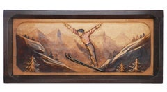 Art Deco Wall Plaque Skier Bas Relief Sculpture carved wood Pays Basque Pyrenees