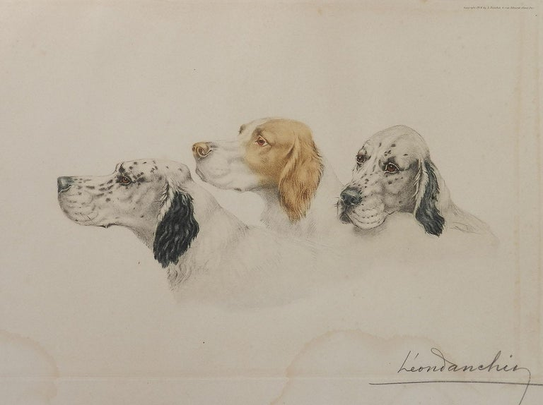 Original Etching of Dogs by Leon Danchin Setters Hand signed in pencil by the artist Leon Danchin and was published by Leon Danchin, Paris  1938 Coloured aquatint Etching on cartridge paper unframed Minor marks of age, there is a feint water mark to