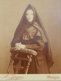 Antique Photograph of a Young French Nun Sepia toned by L Jacques Paris Sepia