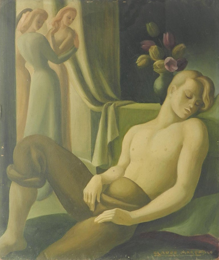 Art Deco Painting signed Claude Marquis 1946 double sided oil on board - Brown Figurative Painting by Claude Marquis