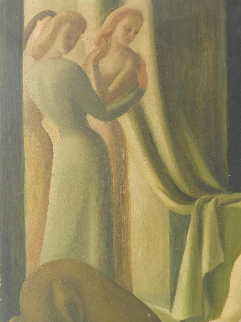 Art Deco Painting signed Claude Marquis 1946 double sided oil on board For Sale 2