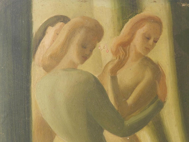 Art Deco Painting signed Claude Marquis 1946 double sided oil on board For Sale 3