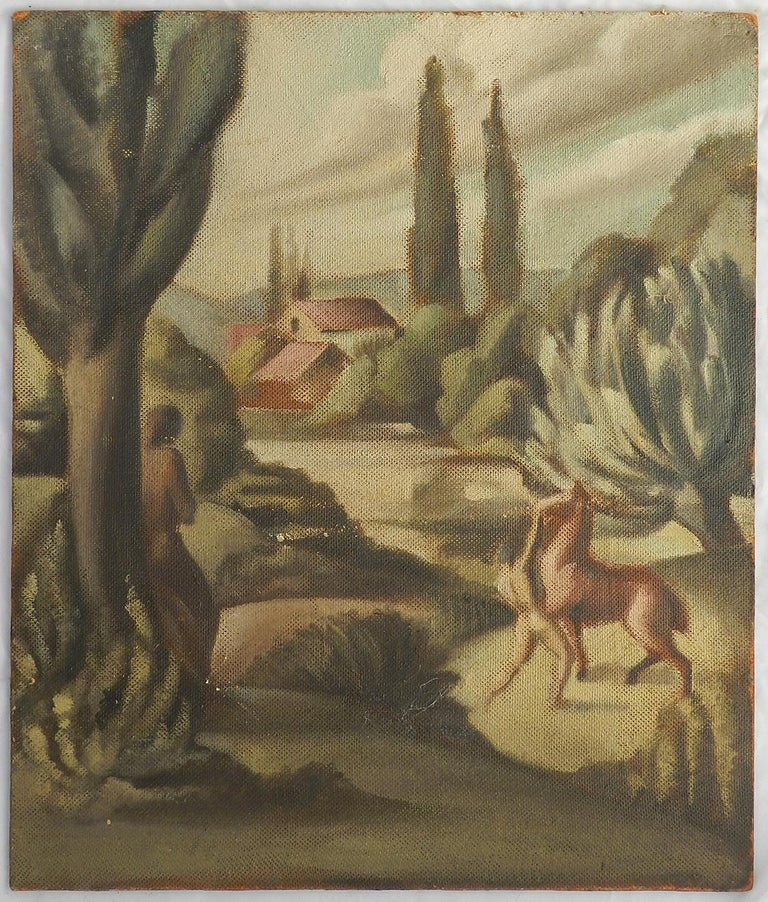 Art Deco Painting signed Claude Marquis 1946 double sided oil on board For Sale 5