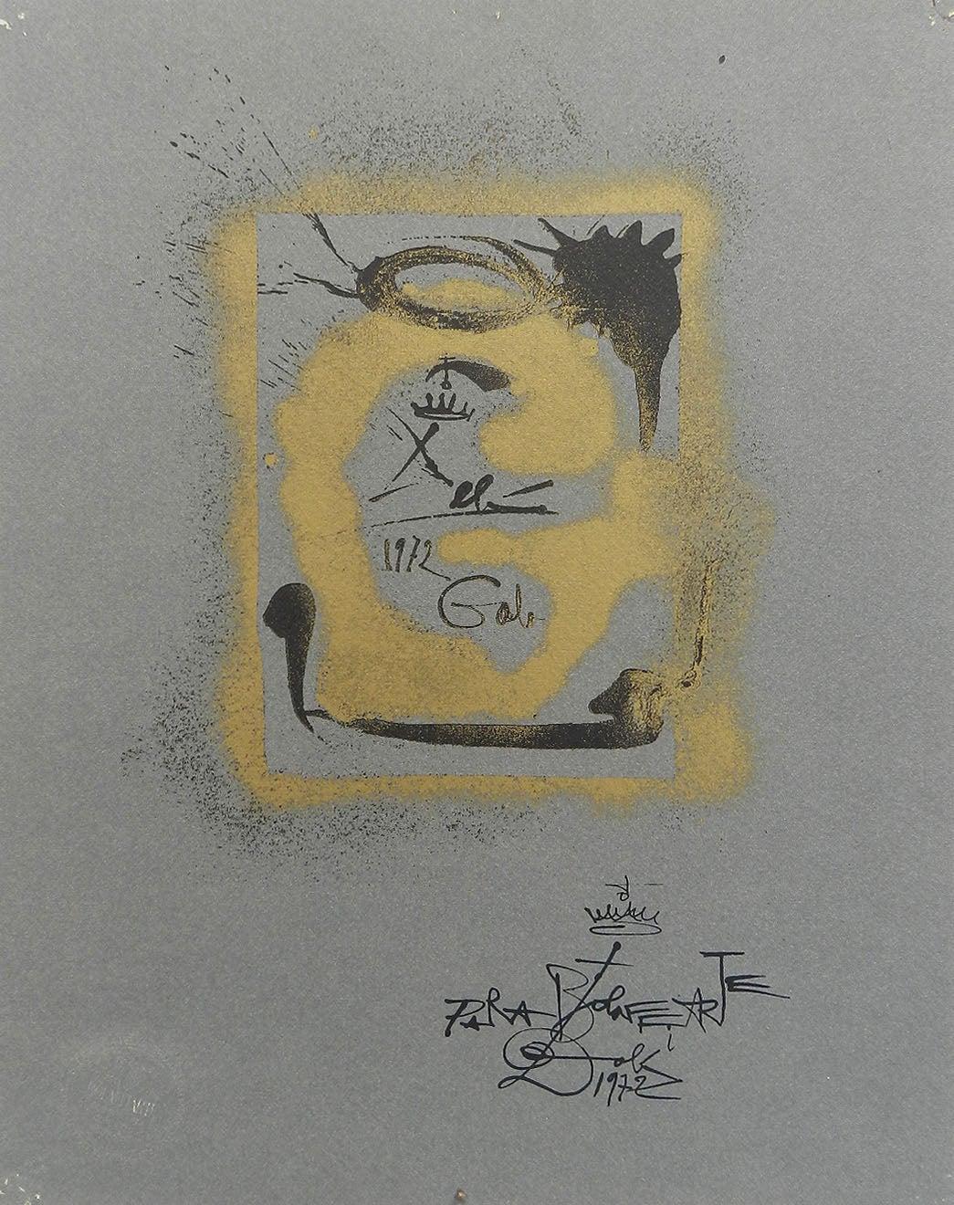 Salvador Dali Lithograph Surreal G for Bolaffiarte Limited Edition 1972