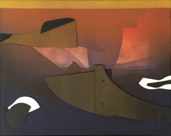 "Edoardo Fraceschini ""Composition"" 1969 Oil Assemblage on Canvas Abstract Modern"