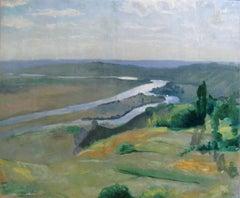 Landscape by Louis Anquetin 'La Seine a Vétheuil ' 1892 Oil Canvas Impressionist