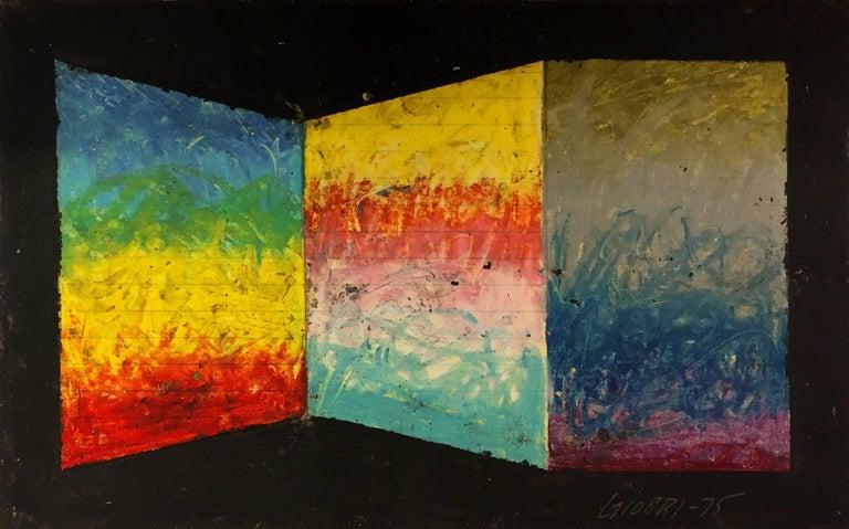 Abstract Artwork by American Artist Edward Giobbi 'Untitled' 1975 Oil Cardboard