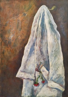 'Artist's Lab Coat' 1977 Oil on Canvas White and Brown Color Still Life Painting