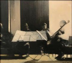 'Musicians Portrait' Black White Gray by Dino Boschi, 1975 Oil on Canvas Italian