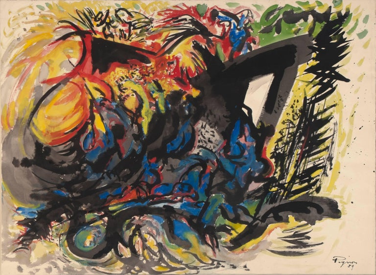 "Edouard Pignon ""Battle IV"" 1959 Tempera on Paper Canvas Abstract Expressionist"