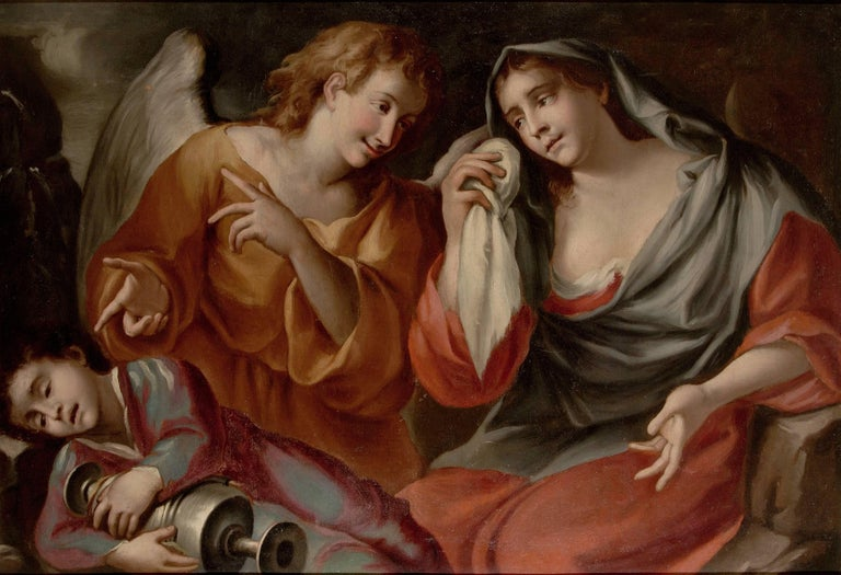 "Federico Bianchi ""Agar, Ismael and the Angel"" 1680 ca, Oil Canvas Ancient Holy"