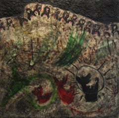 """Jorge Piqueras """"Composition"""" Paris 1961, Oil and Mixed Media on Canvas Abstract"""