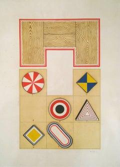 "Lucio Del Pezzo ""Untitled"" 1969, Mixed Media on Cardboard Pop Art"