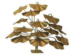 "Authentic Vintage Tommaso Barbi Floor Lamp ""Ginkgo"" Italy 1970s, Brass Design"