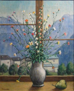 "Fiorenzo Tomea ""Flowers"" 1957, Oil on Canvas Still Life Landscape Windows Modern"