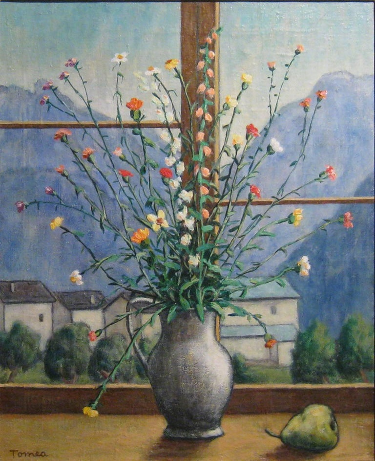 "Fiorenzo Tomea ""Flowers"" 1957, Oil on Canvas Still Life Landscape Windows Modern"