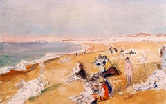 "Jacques Emile Blanche ""Dieppe Beach"" 1931, Oil on Canvas Impressionist"