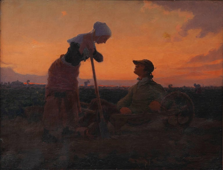 "Charles Lasar ""Landscape""  19th Century Oil Canvas Sunset Impressionism"