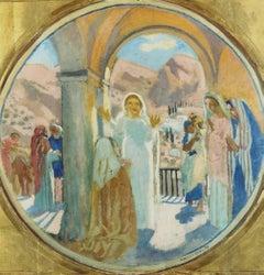 "Maurice Denis ""Visitation"" 1939 Oil on Cardboard Nabis Symbolist French Modern"