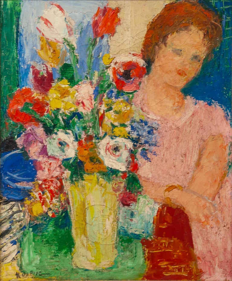 Portrait by Charles Kvapil 'Girl with Flowers' Oil Canvas Fauvism French