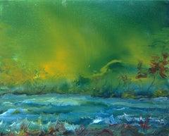 Vittorio Bellini 'Landscape' 2002-2003 Oil Enamel Canvas Blue Green Colorful