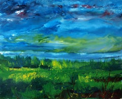 Vittorio Bellini 'Landscape' 2002-2003 Oil Enamel Canvas Blue Sky Colorful