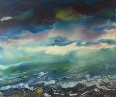 Vittorio Bellini 'Seaside Countries' 2002 Oil Enamel Canvas Landscape Colorful