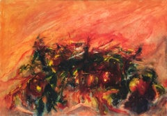 'The Moon and Joy of Living' 1985 Oil Canvas Expressionism Contemporary Italy