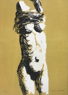 'Nude' 60's Litograph by Vittorio Tavernari Limited Edition Black White Ocra