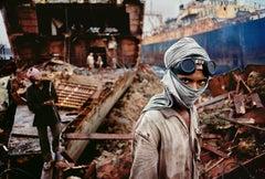 Welder in a Ship Breaking Yard, Mumbai, India