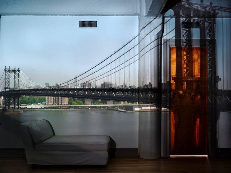Abelardo Morell Color Photograph - Camera Obscura: View of the Manhattan Bridge, April 30th, Morning, 2010