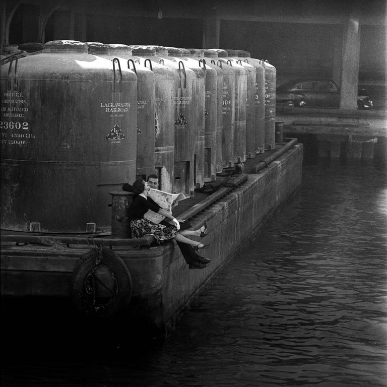 The Barge, 1958 - Jerry Schatzberg (Portrait Photography) - Gray Black and White Photograph by Jerry Schatzberg