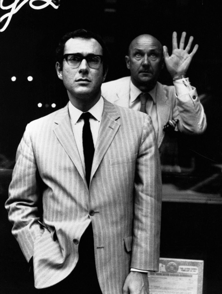 Harold Pinter, Glass Booth, 1968 - Jerry Schatzberg (Portrait Photography) Signed on Reverse Silver Gelatin Print Printed on 16 x 20 inch paper From an Edition 25  Jerry Schatzberg's portraits are characterised by their narrative quality, combining