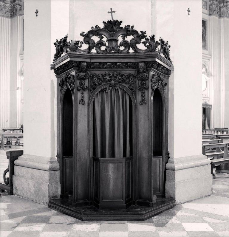Michael Kenna Black and White Photograph - Confessional, Study 35, Basilica Della Beata Vergine della Ghiara, Reggio Emilia