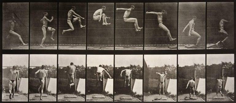 Eadweard Muybridge Black and White Photograph - Animal Locomotion: Plate 160 (Man Performing Long Jump), 1887