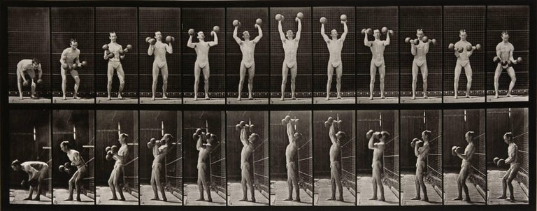 Eadweard Muybridge Black and White Photograph - Animal Locomotion: Plate 322 (Man Lifting Dumbbells), 1887