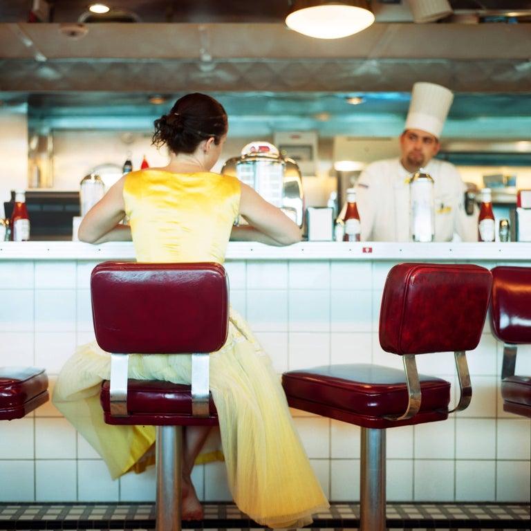 The Diner, Self Portrait, Miami, Florida, 2005 - Cig Harvey (Colour Photography) - Gray Figurative Photograph by Cig Harvey