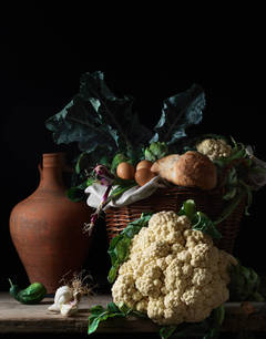 Still Life with Cauliflower and Bread, After LM