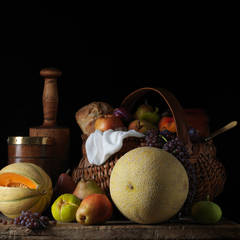Still Life with Melons and Basket, After LM