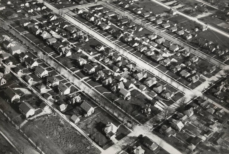 Margaret Bourke-White Black and White Photograph - Aerial View of Single Family Houses, Muncie, In