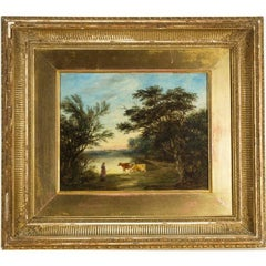 Robert Burrows - 19th Century Signed English Oil, Cattle Watering in a Landscape