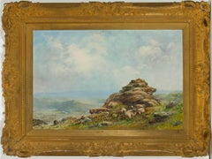 J.A. Moyle - Large Signed Early 20th Century English Oil, Dartmoor Landscape