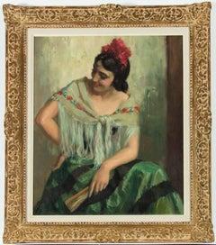 C. Alarcón, 20th Century Gilt Framed Oil - Portrait of a Spanish Woman