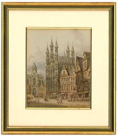 Henry Thomas Schaffer - Signed Victorian Watercolour, Louvain Market Scene