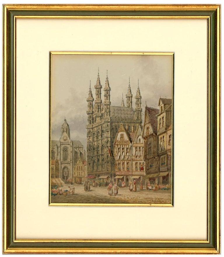 Henry Thomas Schaffer - Signed Victorian Watercolour, Louvain Market Scene - Art by Henry Thomas Schaffer