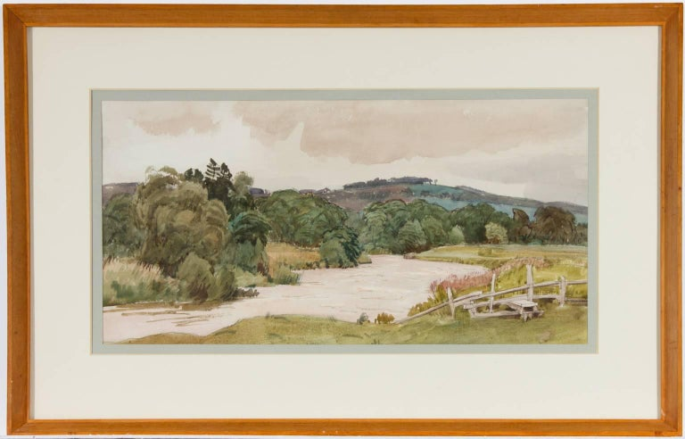 Cedric Kennedy - Signed & Exhibited 1934 British Watercolour, River and Stile - Art by Cedric Kennedy