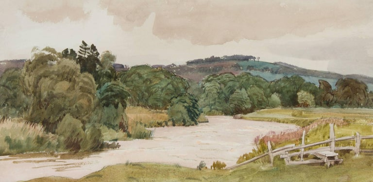 Cedric Kennedy - Signed & Exhibited 1934 British Watercolour, River and Stile - Naturalistic Art by Cedric Kennedy