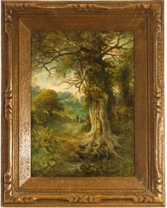 John Moore of Ipswich  - Signed 19th Century English Oil, Figures in a Wood